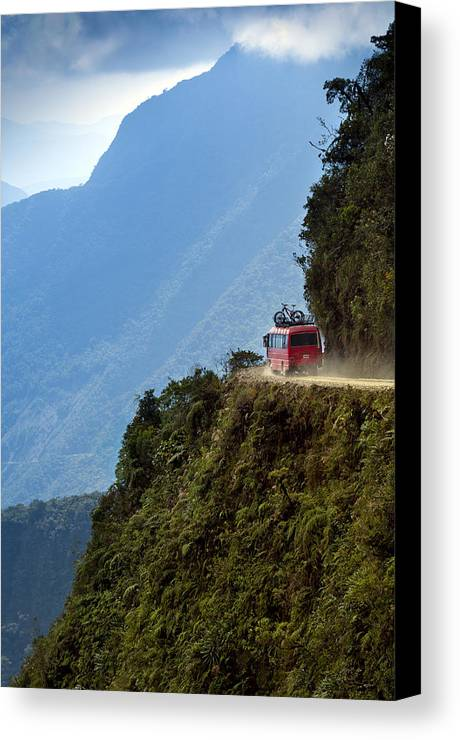 Vertical Canvas Print featuring the photograph The World's Most Dangerous Road, Bolivia by John Coletti