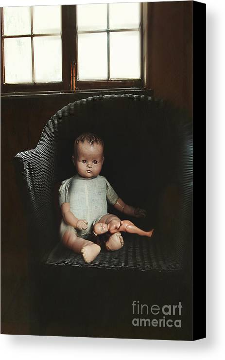 Atmosphere Canvas Print featuring the photograph Vintage Dolls On Chair In Dark Room by Sandra Cunningham
