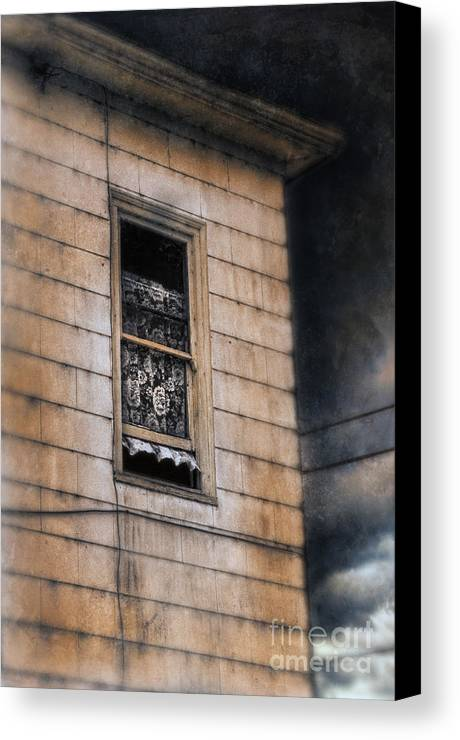 House Canvas Print featuring the photograph Window In Old House Stormy Sky by Jill Battaglia