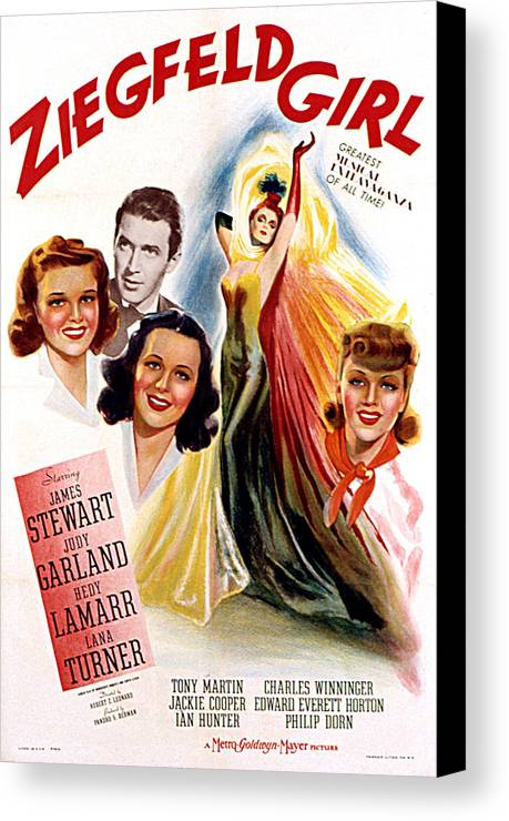 1940s Movies Canvas Print featuring the photograph Ziegfeld Girl, Judy Garland, James by Everett