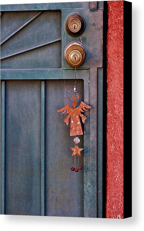 Angel Canvas Print featuring the photograph Angel At The Door by Carol Leigh
