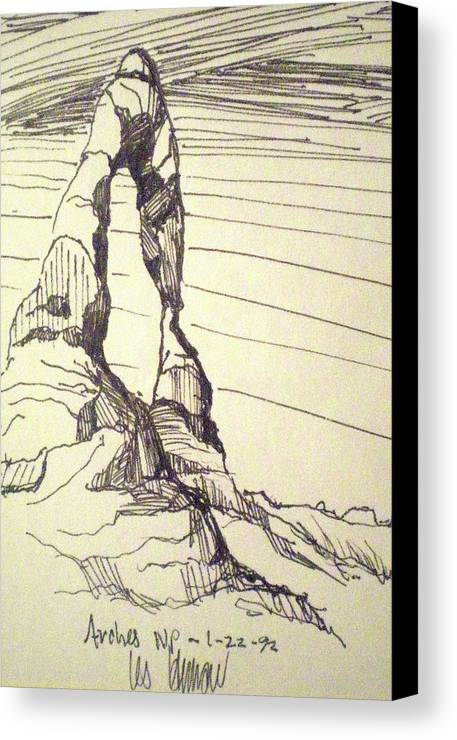 National Park Canvas Print featuring the drawing Arches Np by Les Herman