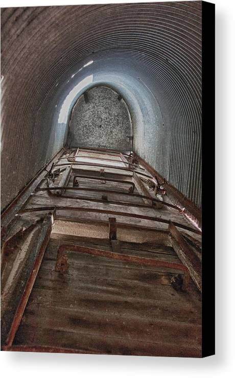 Barn Canvas Print featuring the photograph Climbing The Silo by Guy Whiteley