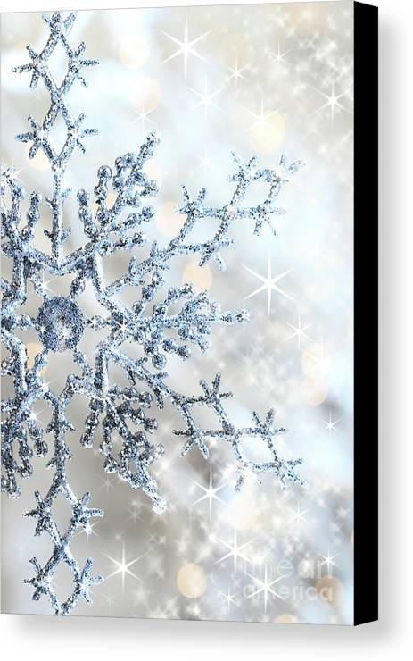 Background Canvas Print featuring the photograph Closeup Of Snowflake by Sandra Cunningham