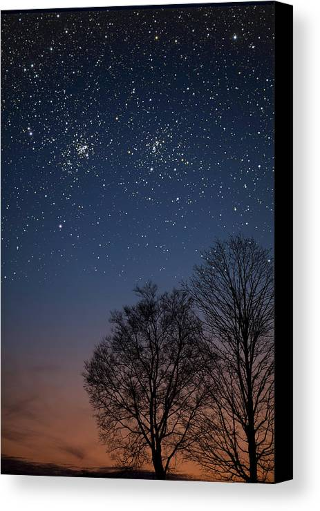 Stars Canvas Print featuring the photograph Double Cluster Sunset by Charles Warren