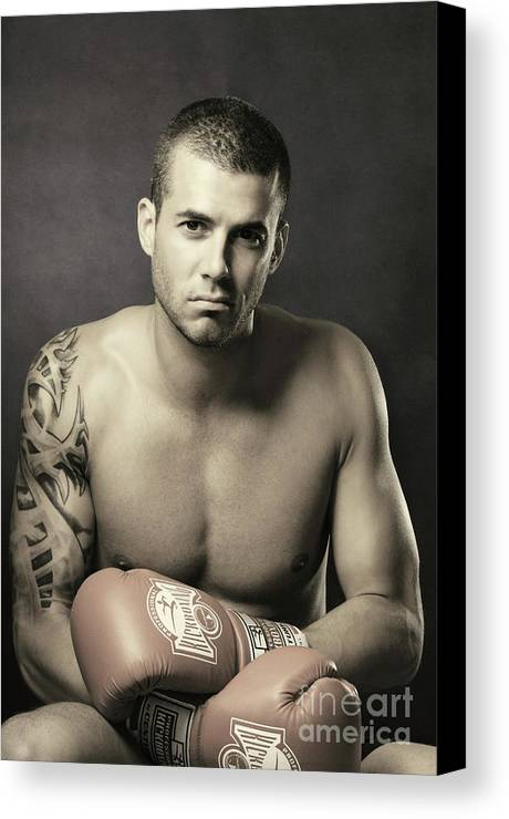 Kickboxer Canvas Print featuring the photograph Dramatic Portrait Of A Kickboxer by Oleksiy Maksymenko