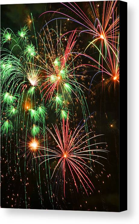 4th Of July Canvas Print featuring the photograph Fireworks 4th Of July by Garry Gay