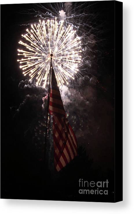 3d Canvas Print featuring the photograph Fireworks Behind American Flag by Alan Look