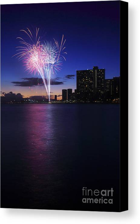 4th Canvas Print featuring the photograph Fireworks Over Waikiki by Brandon Tabiolo - Printscapes