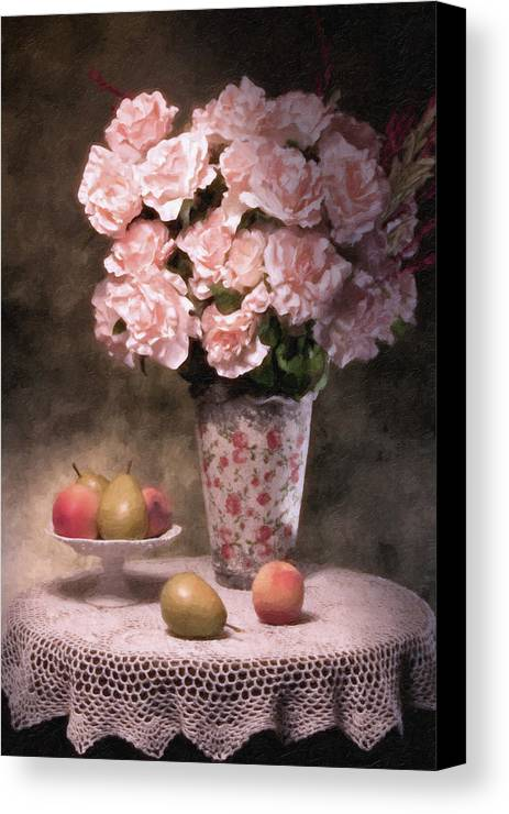Flowers Canvas Print featuring the photograph Flowers With Fruit Still Life by Tom Mc Nemar