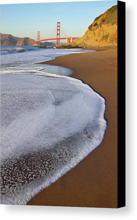Vertical Canvas Print featuring the photograph Golden Gate Bridge At Sunset by Sean Stieper