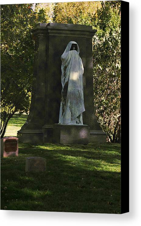 Graveyard Canvas Print featuring the photograph Graceland Chicago - The Place Where The Spirits Roam by Christine Till