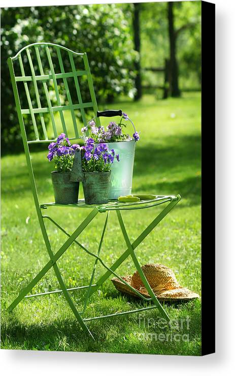 Afternoon Canvas Print featuring the digital art Green Garden Chair by Sandra Cunningham