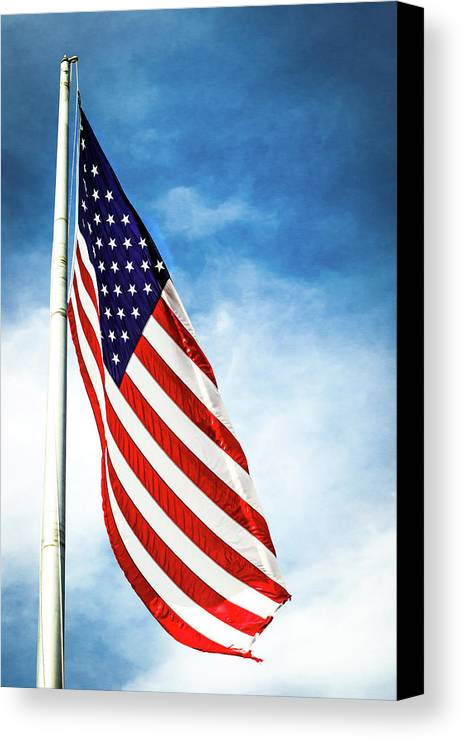 American Flag Canvas Print featuring the photograph I Pledge Allegiance by Shelby Young