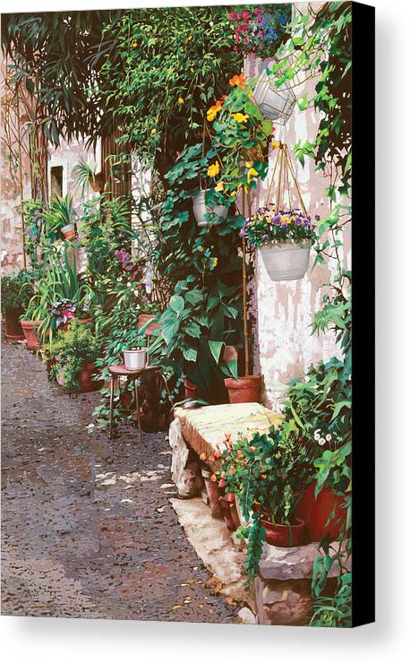 Street Scens Canvas Print featuring the painting La Panca Di Pietra by Guido Borelli