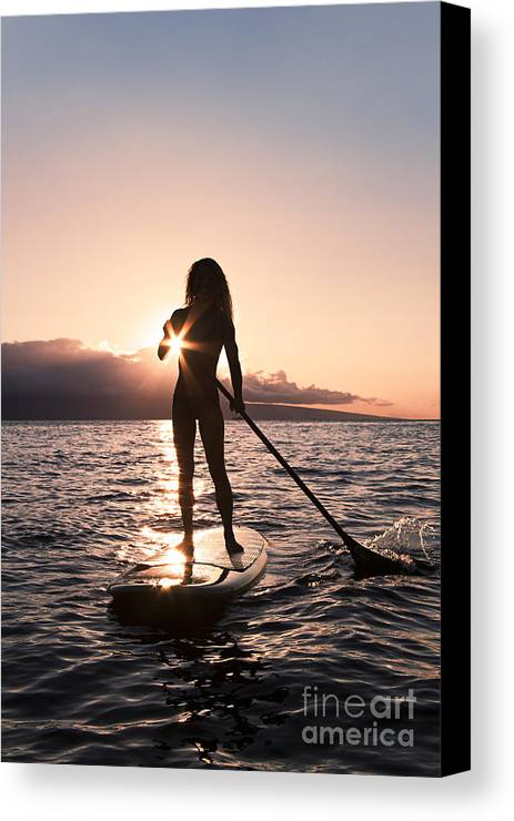 Activity Canvas Print featuring the photograph Lady Paddling by Dave Fleetham - Printscapes