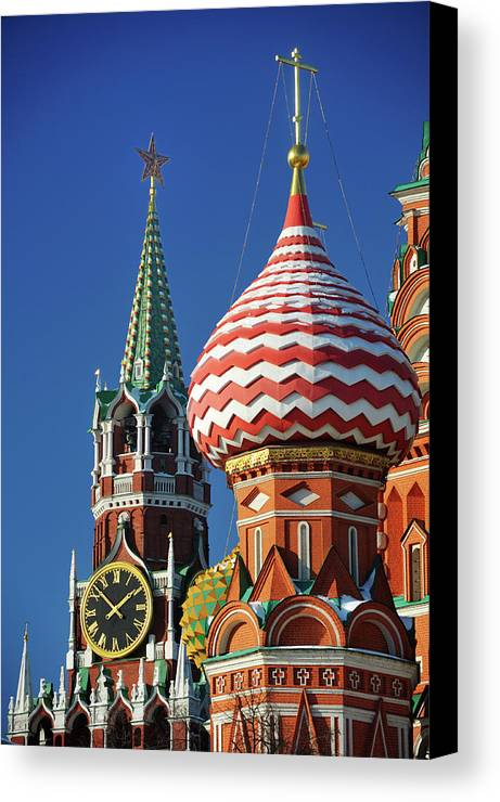 Vertical Canvas Print featuring the photograph Moscow, Spasskaya Tower And St. Basil Cathedral by Vladimir Zakharov