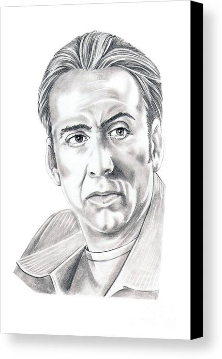 Pencil Canvas Print featuring the drawing Nicolas Cage by Murphy Elliott
