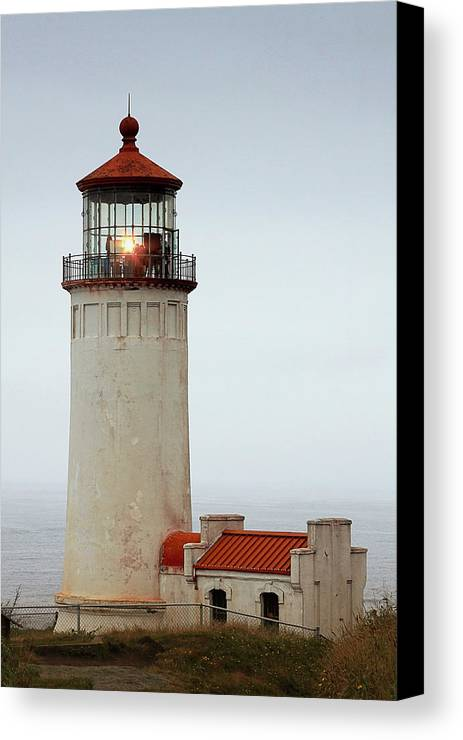 Cape Disappointment Canvas Print featuring the photograph North Head Lighthouse - Ilwaco On Washington's Southwest Coast by Christine Till