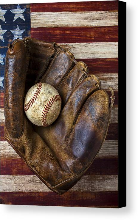 Old Mitt Canvas Print featuring the photograph Old Mitt And Baseball by Garry Gay