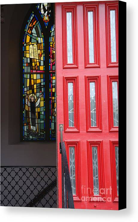 Red Door Canvas Print featuring the photograph Red Door At Church In Front Of Stained Glass by David Bearden