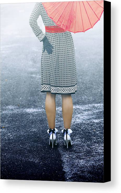 Woman Canvas Print featuring the photograph Red Umbrella by Joana Kruse