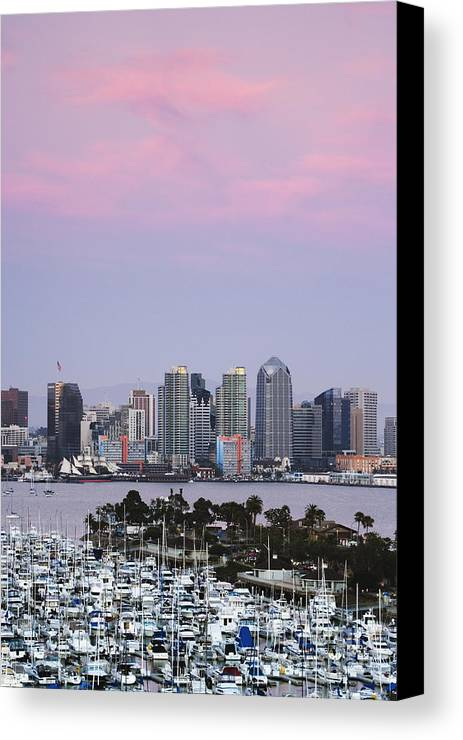 Architecture Canvas Print featuring the photograph San Diego Skyline And Marina At Dusk by Jeremy Woodhouse