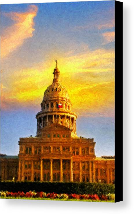Dallas Canvas Print featuring the painting Texas Capitol At Sunset Austin by Jeff Steed