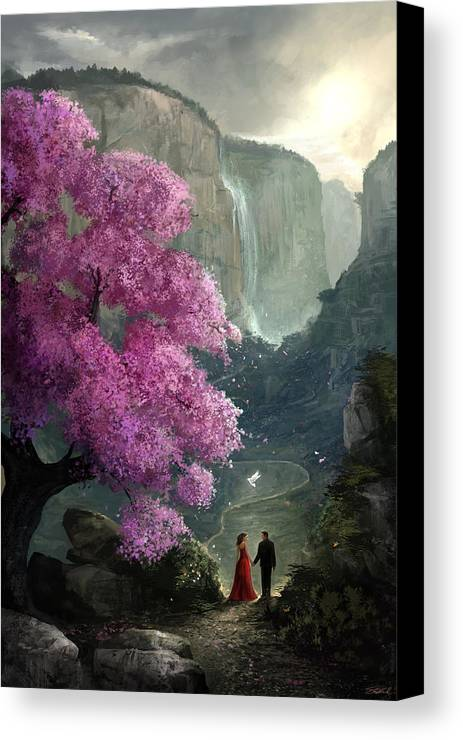 Cherry Blossom Canvas Print featuring the digital art The Path by Steve Goad