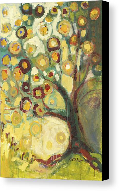 Tree Life Abstract Modern Circles Contemporary Nature Canvas Print featuring the painting Tree Of Life In Autumn by Jennifer Lommers