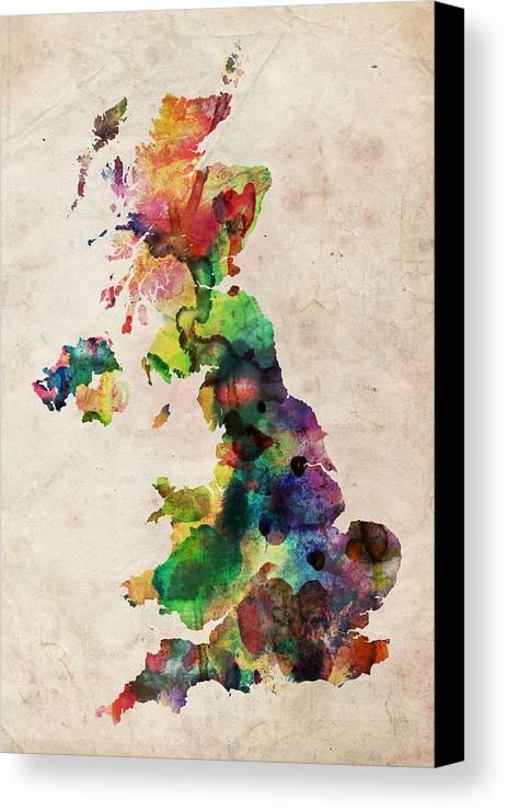United Kingdom Map Canvas Print featuring the digital art United Kingdom Watercolor Map by Michael Tompsett