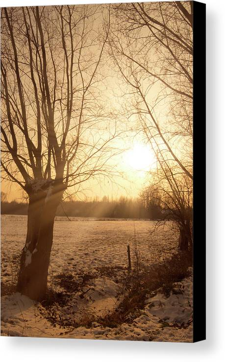 Sunset Canvas Print featuring the photograph Winter Sunset by Wim Lanclus