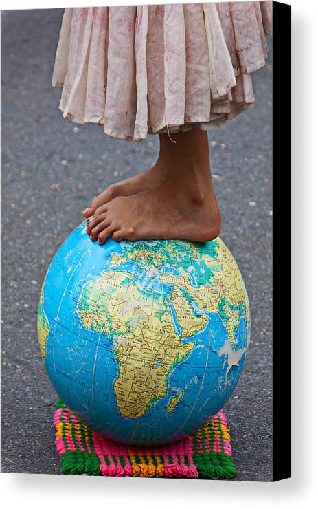Foot Canvas Print featuring the photograph Young Woman Standing On Globe by Garry Gay