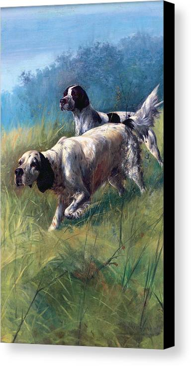 Dogs Canvas Print featuring the painting On The Scent by Unknown