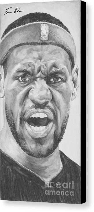 Lebron Canvas Print featuring the painting Intensity Lebron James by Tamir Barkan