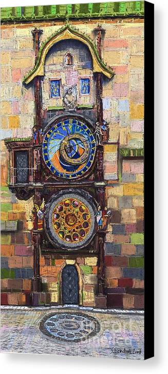 Cityscape Canvas Print featuring the painting Prague The Horologue At Oldtownhall by Yuriy Shevchuk