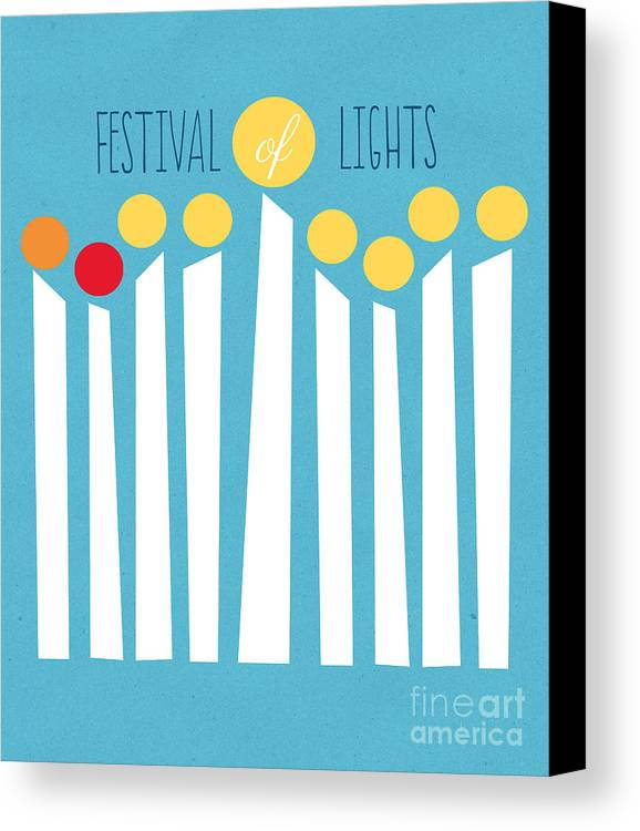 Menorah Canvas Print featuring the mixed media Festival Of Lights by Linda Woods