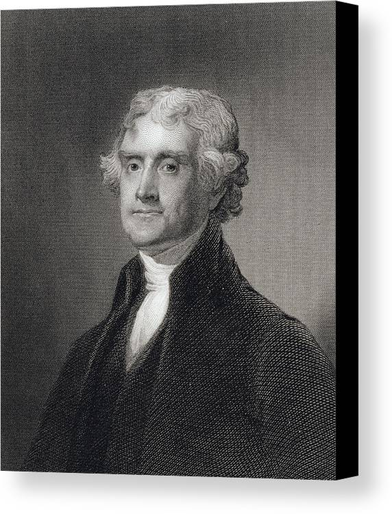 Thomas Jefferson Canvas Print featuring the drawing Portrait Of Thomas Jefferson by Henry Bryan Hall