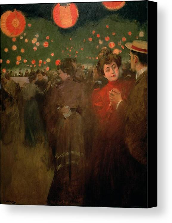 Dance; Evening; Lantern; Outdoors; Chinese Lanterns; Fiesta; Couple; Boater Canvas Print featuring the painting The Open Air Party by Ramon Casas i Carbo