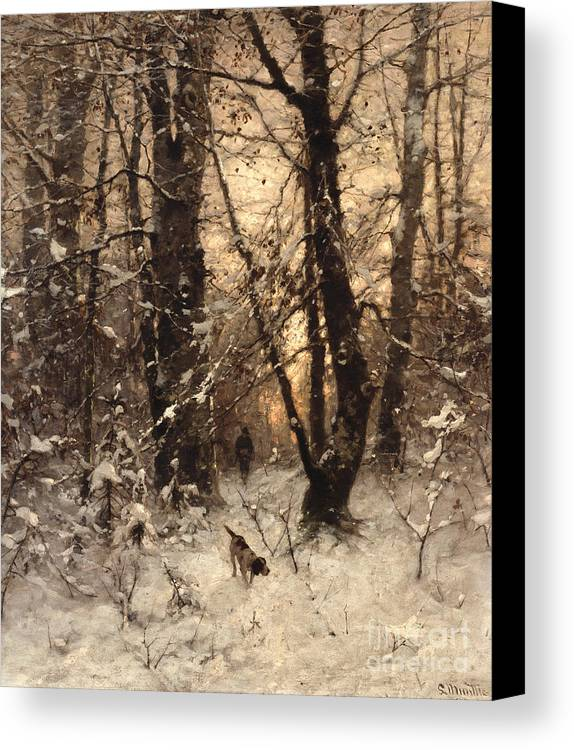 Winter Canvas Print featuring the painting Winter Twilight by Ludwig Munthe