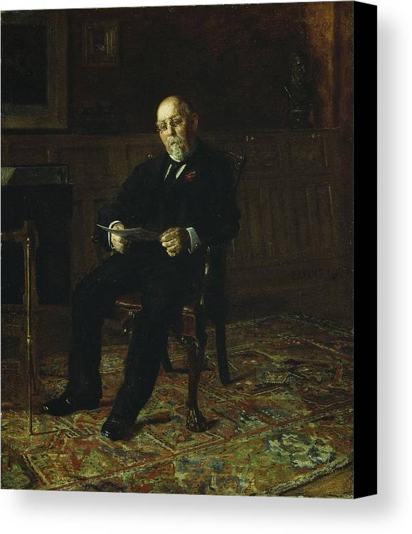 Robert Canvas Print featuring the painting Robert M. Lindsay by Thomas Cowperthwait Eakins