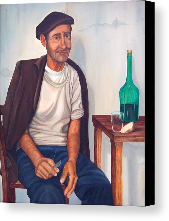 Portrait Canvas Print featuring the painting Antonio by AnnaJo Vahle