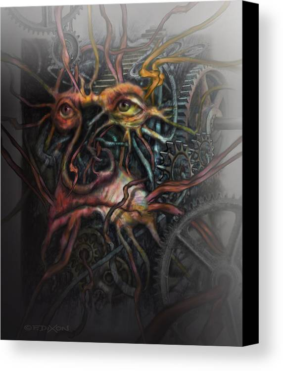 Watercolor Canvas Print featuring the painting Face Machine by Frank Robert Dixon