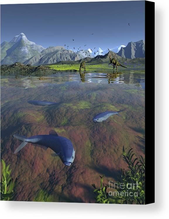 Earth Canvas Print featuring the digital art Fanged Enchodus Predatory Fish by Walter Myers