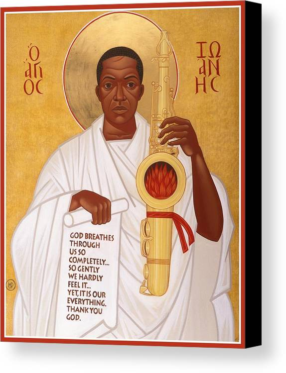 Saint John Coltrane. Black Christ Religion Canvas Print featuring the painting God Breathes Through The Holy Horn Of St. John Coltrane. by Mark Dukes