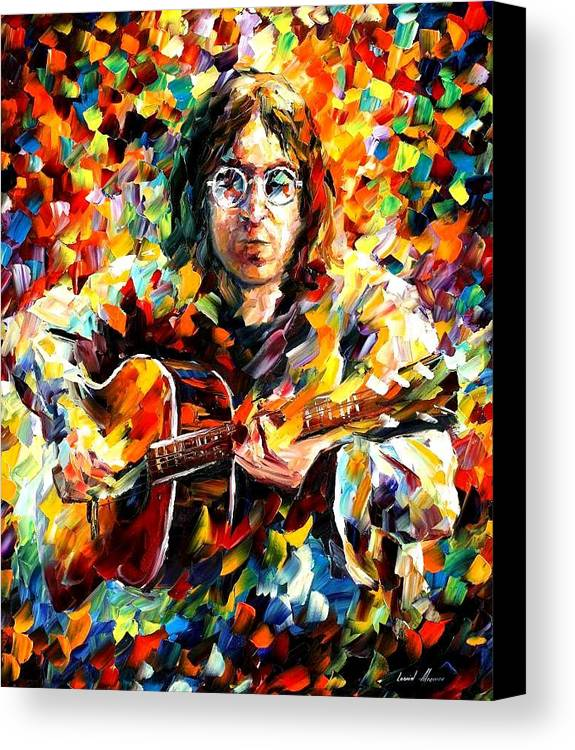 Beatles Canvas Print featuring the painting John Lennon by Leonid Afremov