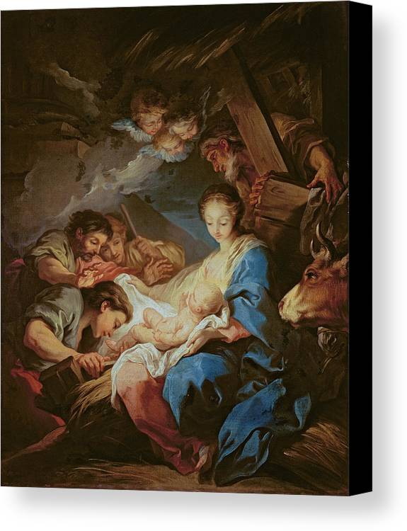 Light; Cherubs; Nativity Canvas Print featuring the painting The Adoration Of The Shepherds by Charle van Loo