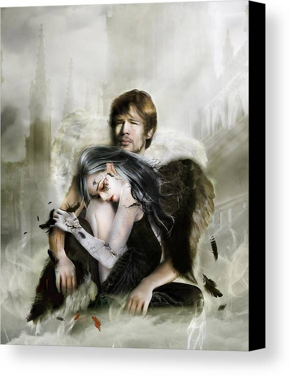 Angel Canvas Print featuring the digital art The End Is Nigh by Mary Hood