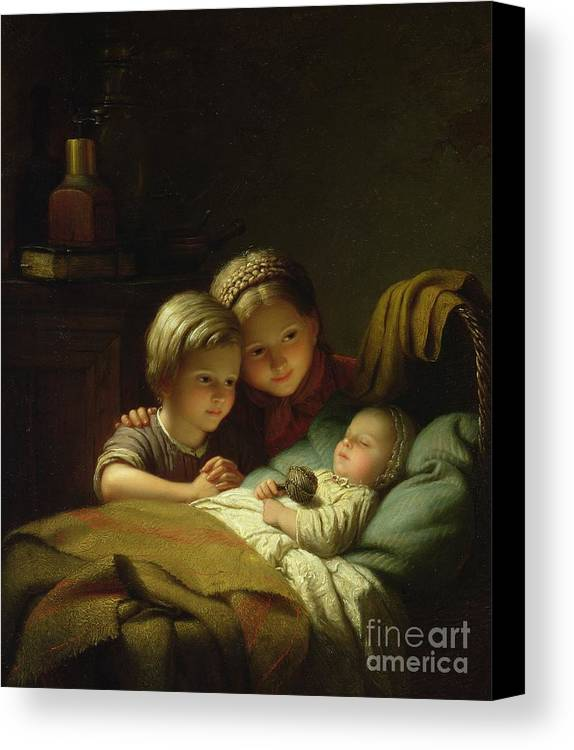 Rattle; Cradle; Braiding; Baby; Sleep; Sleeping; Sister; Tender; Tenderness; Hochet Canvas Print featuring the painting The Three Sisters by Johann Georg