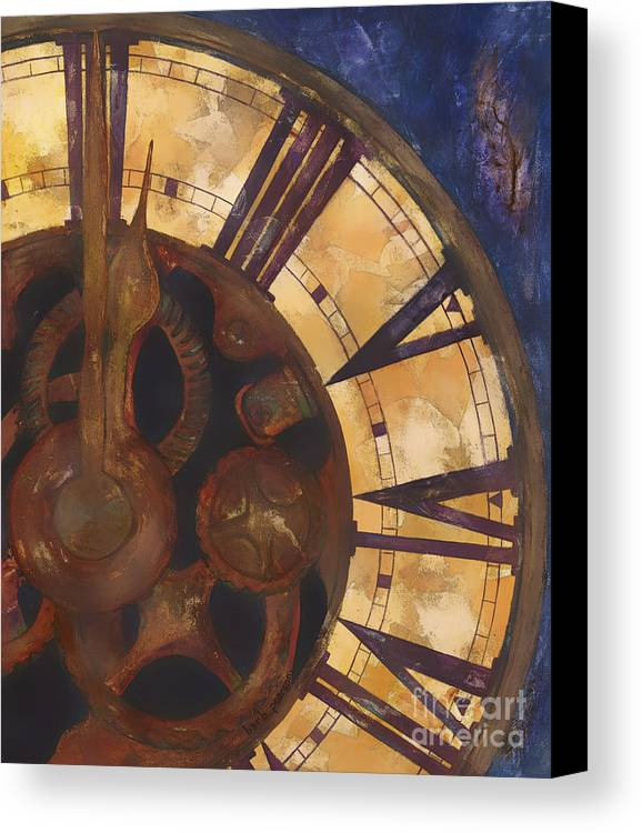 Time Canvas Print featuring the painting Time Askew by Barb Pearson